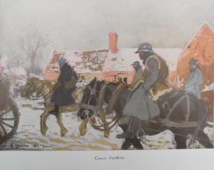 Convoi d'artillerie (L'ILLUSTRATION) Aquarelle de Ch.Hoffbauer